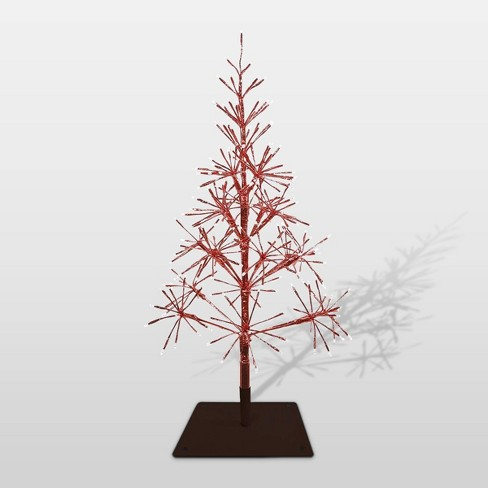 Alpine Festive Artificial Christmas Tree With Warm White Led Lights Red