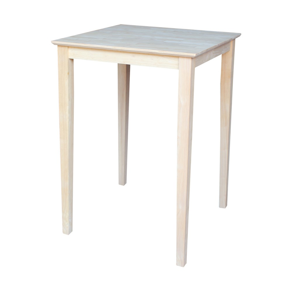 """Image of """"30"""""""" Square Solid Wood Bar Height Table with Shaker Legs Unfinished - International Concepts"""""""