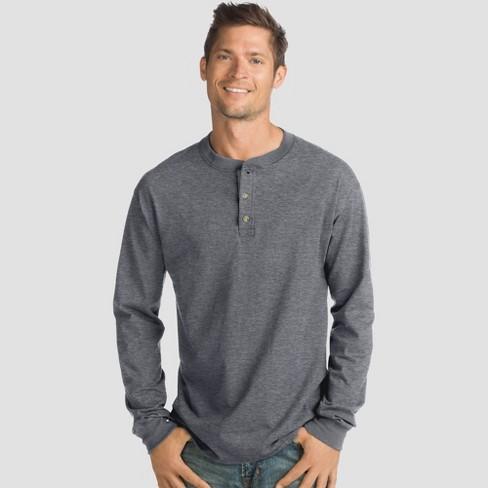 5ded0755 Hanes Men's Big & Tall Long Sleeve Beefy Henley Shirt - Slate 3XL : Target