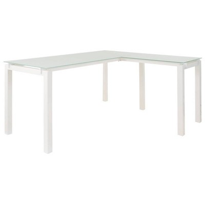 Metal L Shape Desk with Frosted Glass Top and Block Legs White - Benzara
