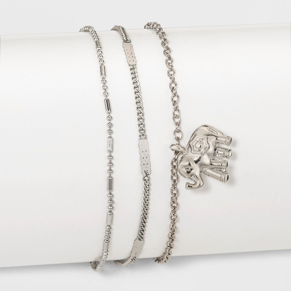 Three Piece with Charm Anklet - Rhodium, Dark Silver