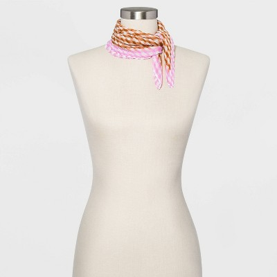 Women's Pleated Gingham Chiffon Neckerchief - A New Day™ Brown / Purple One Size
