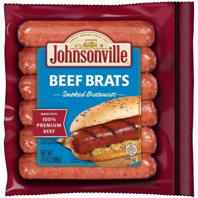 Johnsonville Smoked Beef Bratwurst - 14oz