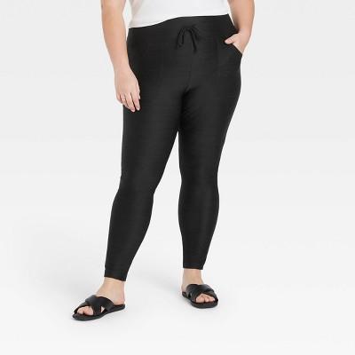 Women's Drawstring High-Waist Lounge Leggings - A New Day™ Black