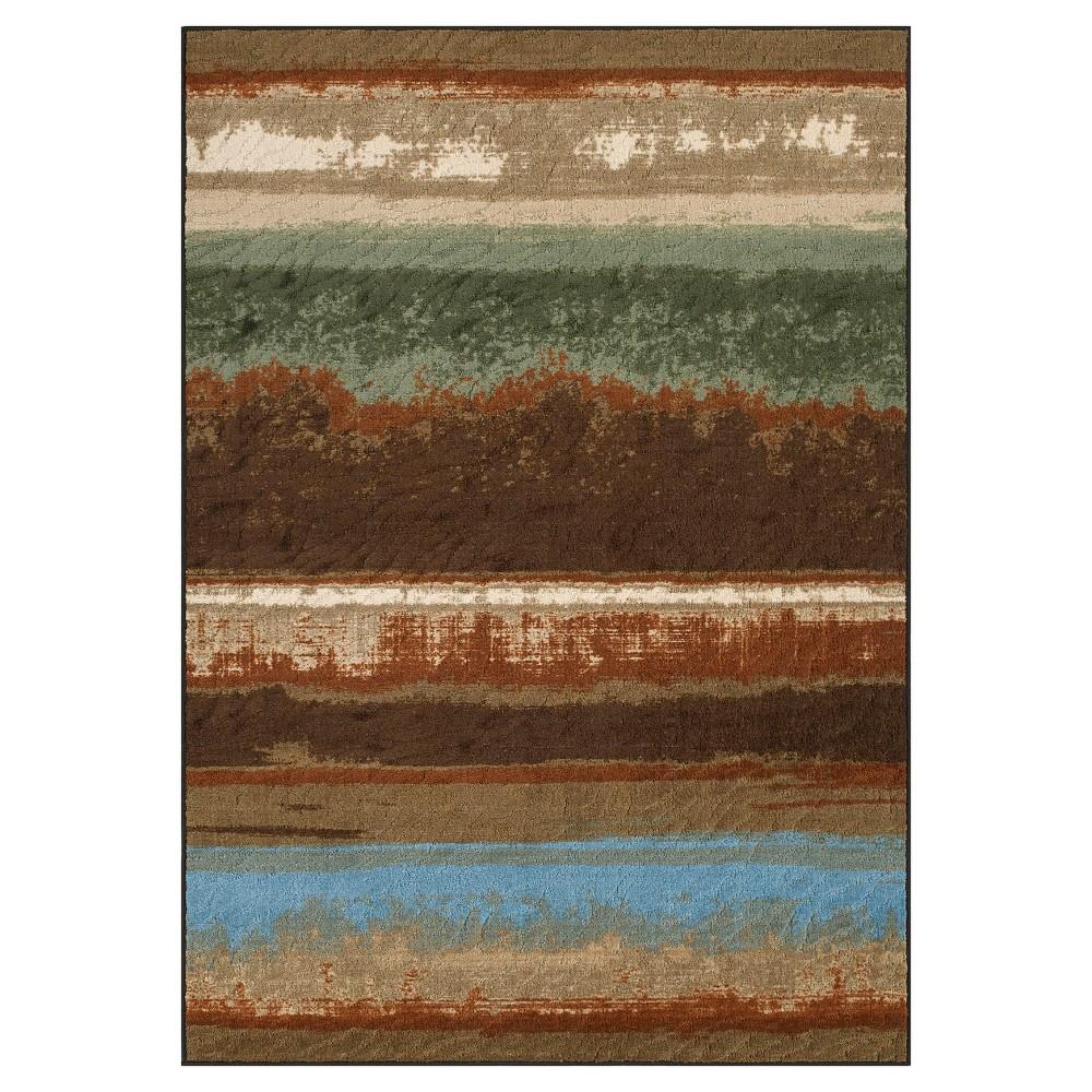Chocolate (Brown) Multi Stripe Woven Area Rug 4'11