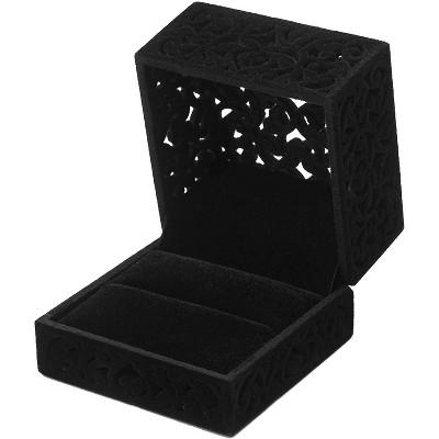Wedding Velvet Ring Box (6x6x4.5 in, Black)