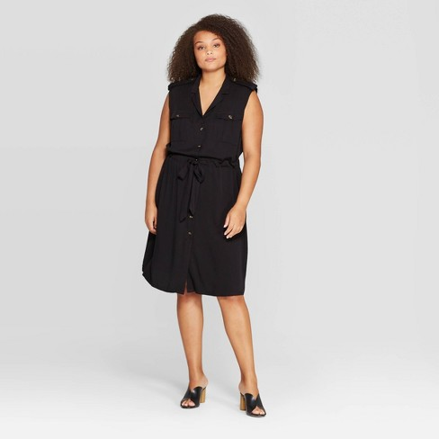 Women's Plus Size Sleeveless V-Neck Midi A Line Dress - Who What Wear™ Jet Black - image 1 of 3