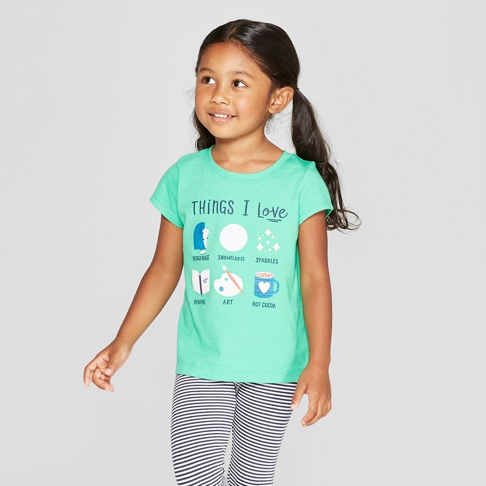 Toddler Girls' Short Sleeve 'Things I love' Graphic T-Shirt - Cat & Jack Green 12M