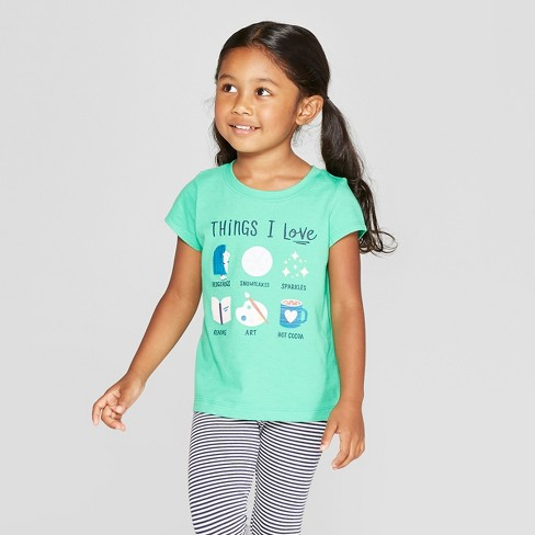 Toddler Girls' Short Sleeve 'Things I love' Graphic T-Shirt - Cat & Jack™ Green - image 1 of 3