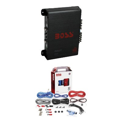 BOSS R1004 400W 4-Channel RIOT Car Audio Power Amplifier Amp and 8 Gauge Complete Car Amplifier Installation Wiring Kit