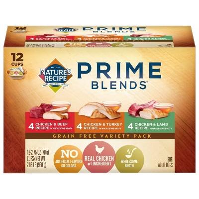Nature's Recipe Prime Blends Grain Free Chicken, Turkey & Lamb Wet Dog Food - 2.75oz/12ct Variety Pack