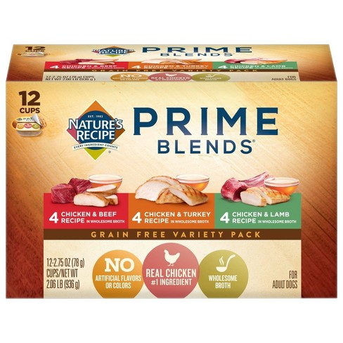 Nature's Recipe Prime Blends Grain Free Chicken, Turkey & Lamb Wet Dog Food - 2.75oz/12ct Variety Pack - image 1 of 4