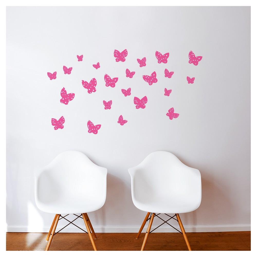 Butterflies Wall Decal - Pink, Pink Rose