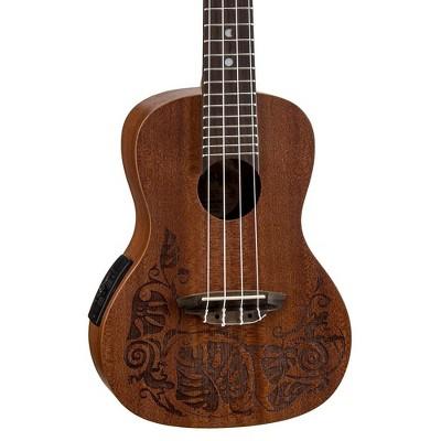 Luna Guitars MO EL Concert Acoustic-Electric Ukulele Lizard Design