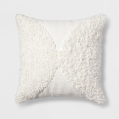 Tufted Half Circle Square Throw Pillow White - Project 62™