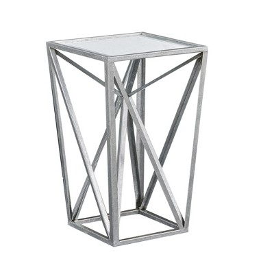 Jaye Silver Angular Mirror Accent Table - Silver/Mirror