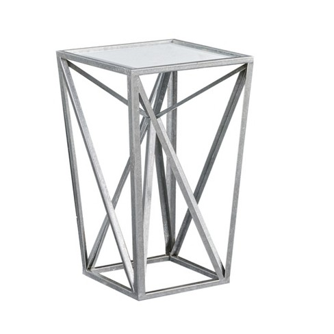 Jaye Silver Angular Mirror Accent Table - Silver/Mirror - image 1 of 4