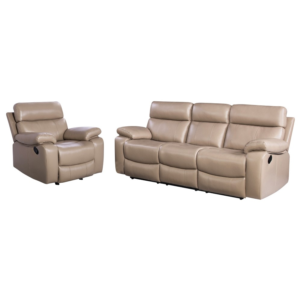 Image of 2pc Cameron Leather Reclining Sofa & Armchair Set Beige - Abbyson Living
