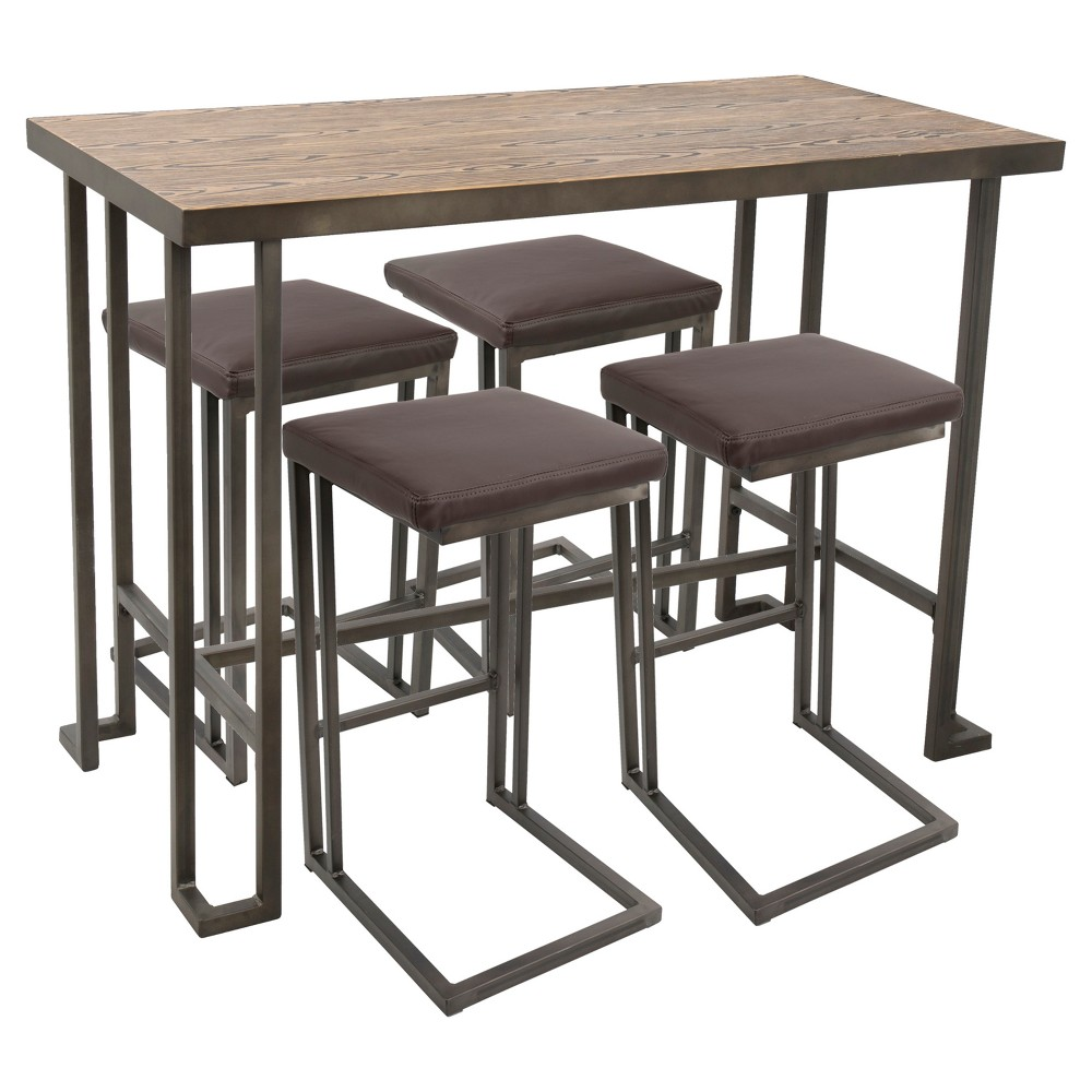 5pc Roman Industrial Counter Height Dining Set Antiqued Brown Lumisource