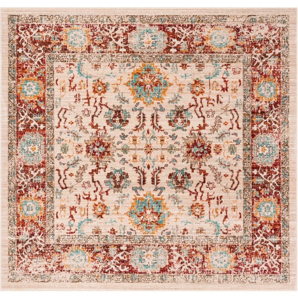 6'X6' Floral Loomed Square Area Rug Ivory/Brick - Safavieh