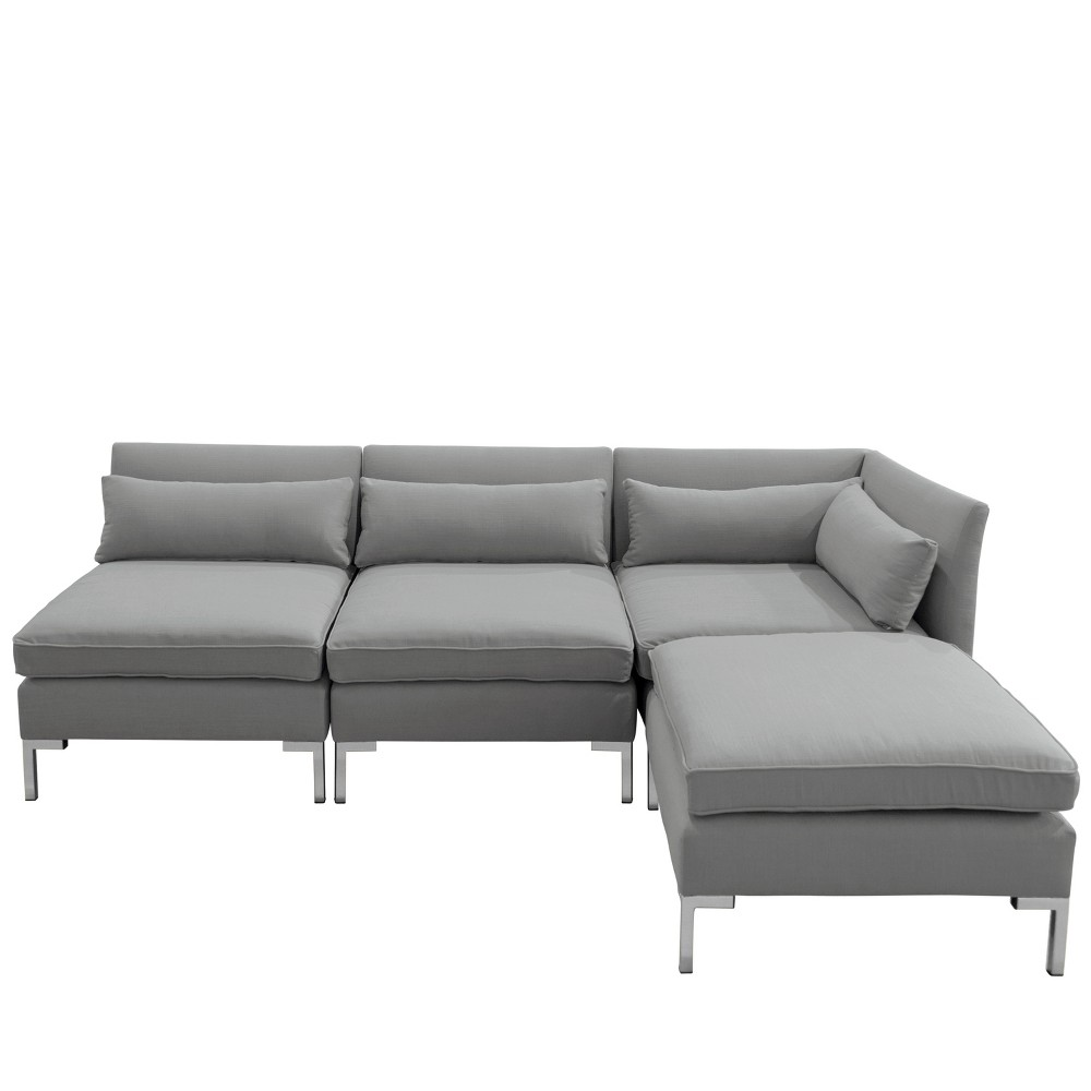 Image of 4pc Alexis Sectional with Silver Metal Y Legs Gray Linen - Cloth & Company