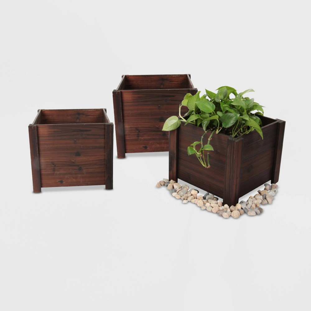 Image of 3pc Medium Square Wooden Planters Brown - Leisure Season