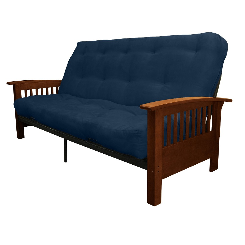 Craftsman 8 Cotton/Foam Futon Sofa Sleeper - Walnut Wood Finish - Epic Furnishings, Blue