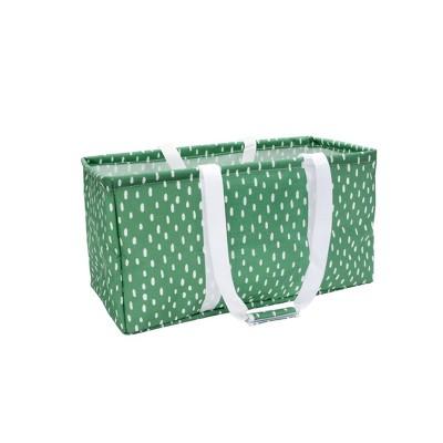 Soft Sided Scrunchable Laundry Basket Crisp Green Dash - Room Essentials™