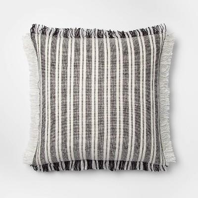 Woven Stripe Square Pillow Black/Cream - Threshold™