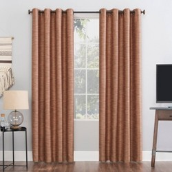 "52""x84"" Rhett Woven Strie Theater Grade Extreme 100% Blackout Grommet Curtain Panel Orange - Sun Zero"