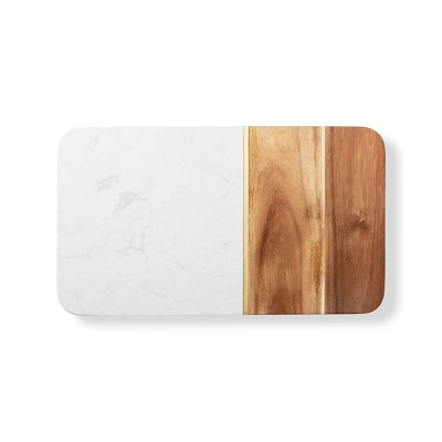 """14"""" x 8"""" Marble and Acacia Cheese Board - Cathy's Concepts"""