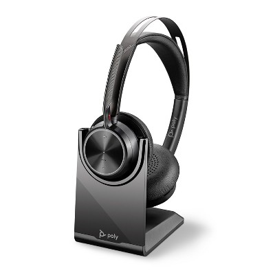 Poly Voyager Focus 2 UC USB-A Headset with Stand (Plantronics) - Bluetooth Dual-Ear (Stereo) Headset with Boom Mic - USB-A PC / Mac Compatible - Active Noise Canceling - Works with Teams, Zoom & more