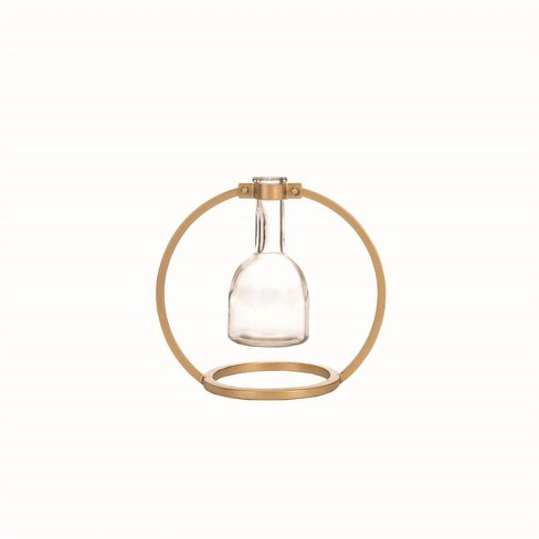 Glass Bud Vase in Modern Round Brass Metal Stand - Foreside Home & Garden - image 1 of 4