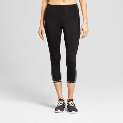 f06bcc6d38ed Womens Embrace High-Waisted Laser Cut Color Block Capri Leggings - C9  Champion® Black