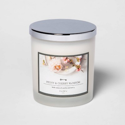 20oz Lidded Milky Glass Jar 3-Wick Peony and Cherry Blossom Candle - Threshold™