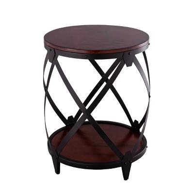 Rubino Drum End Table Brown/Black - Carolina Chair & Table