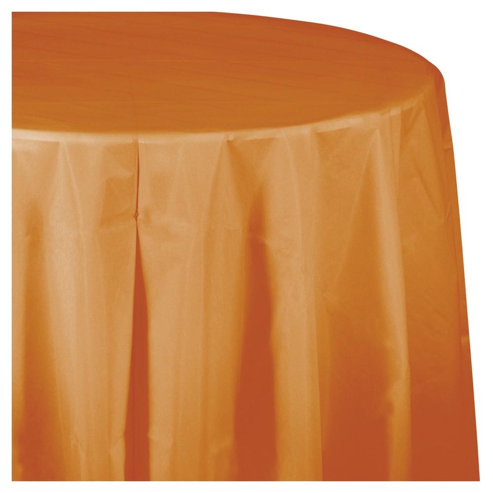 Pumpkin Spice Orange Round Plastic Tablecloth