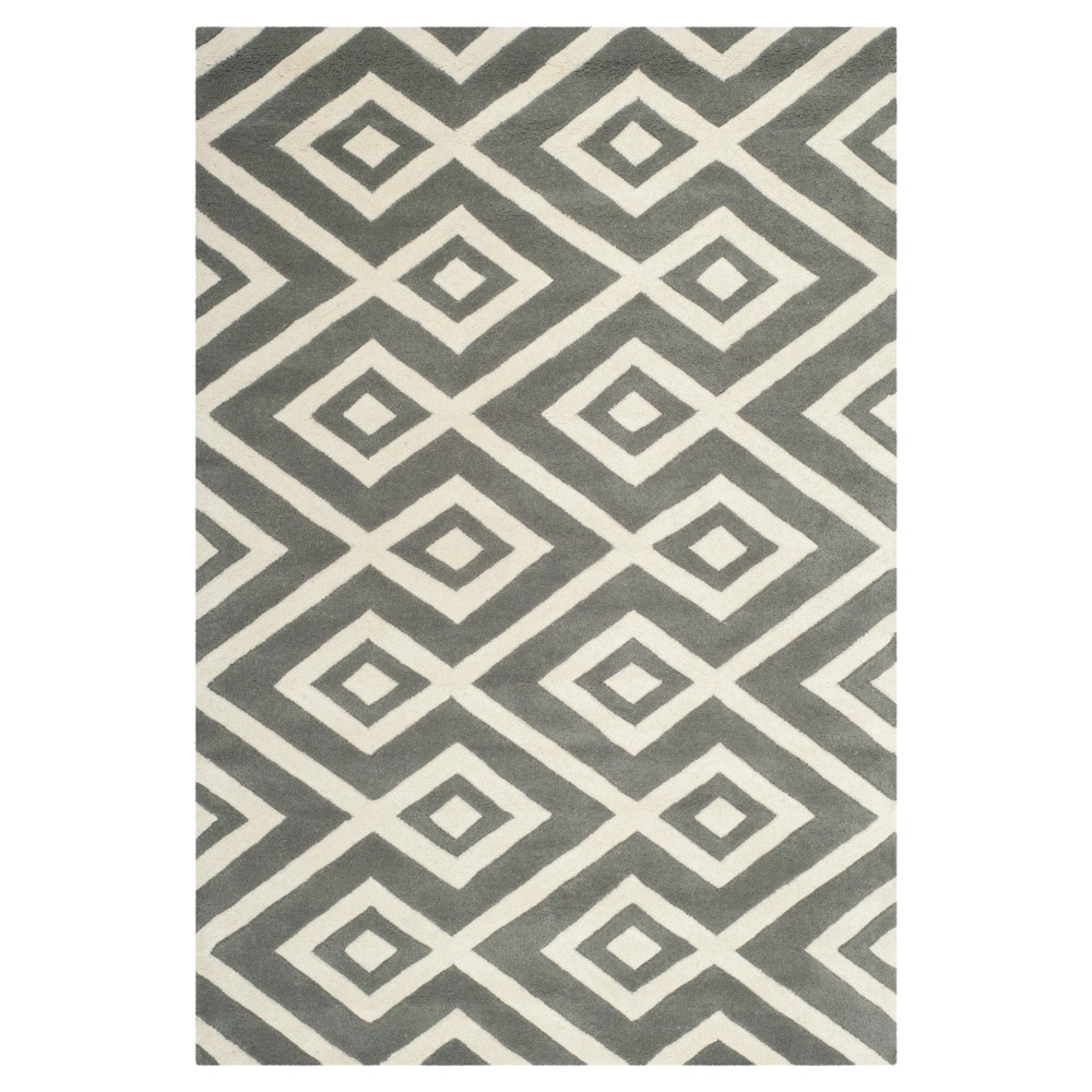 4'X6' Geometric Area Rug Dark Gray/Ivory - Safavieh