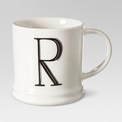 Monogrammed Porcelain Mug 15oz White with Black Letter R - Threshold™