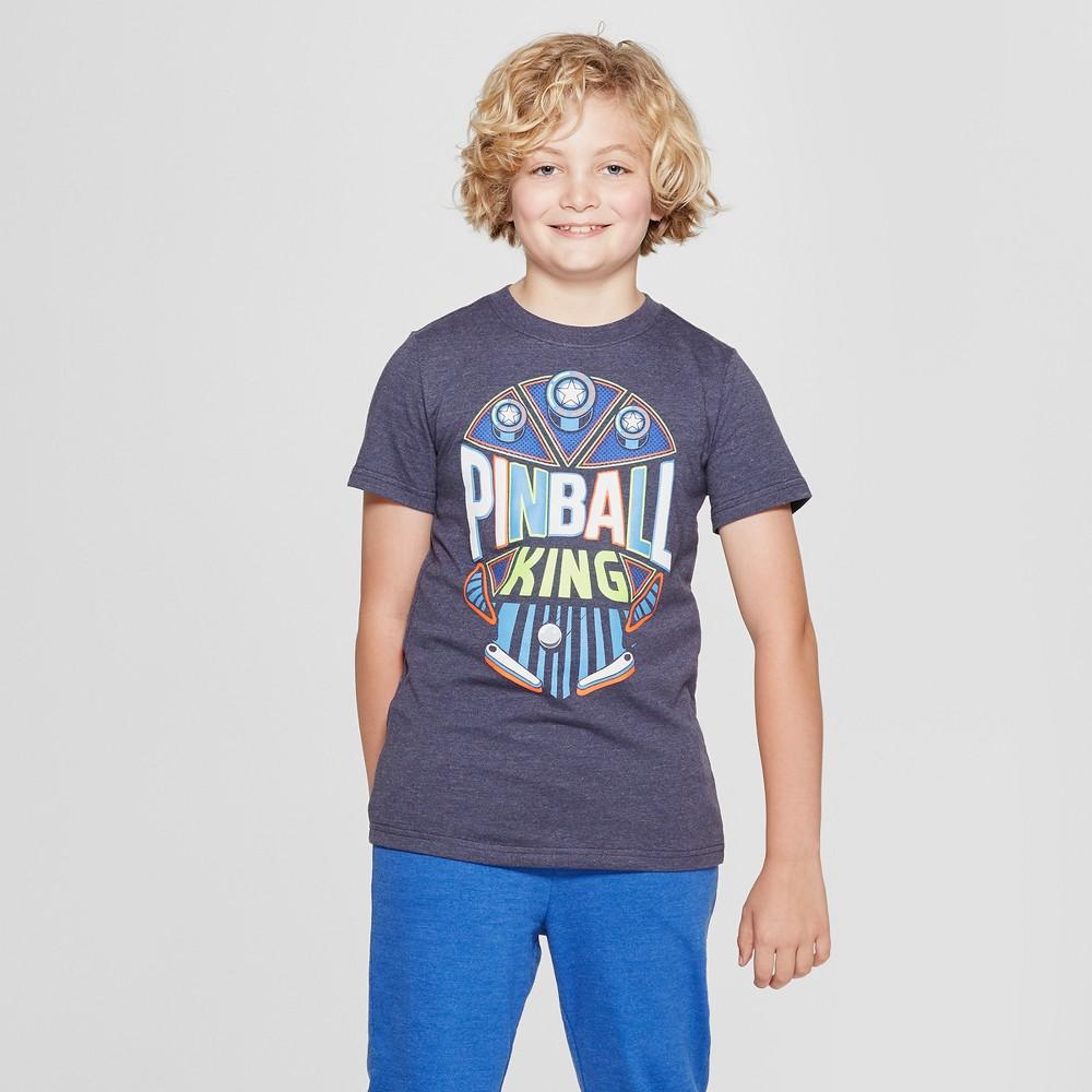 Best Price Boys Short Sleeve Pinball King Graphic T Shirt Cat Jack Navy XL Blue