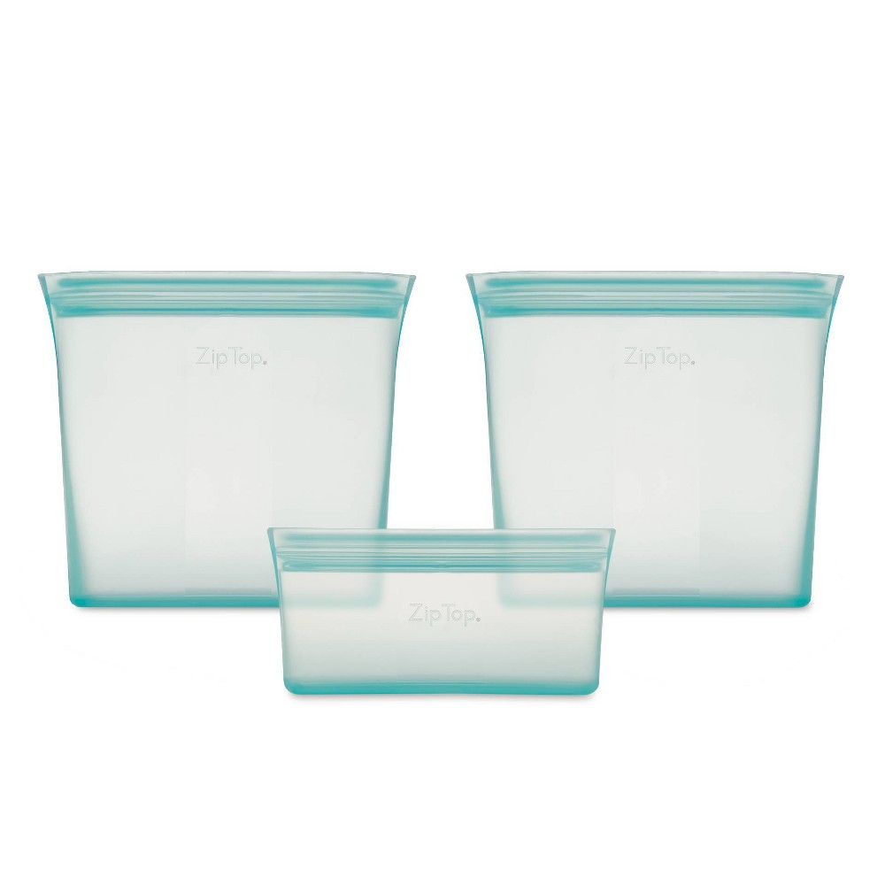 Image of Zip Top Reusable 100% Platinum Silicone Container - 3 Bag Set (2 sandwich/1 snack) - Teal