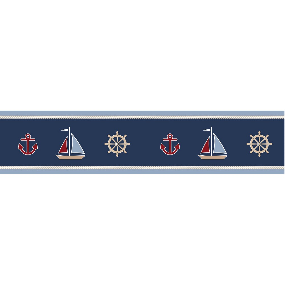 Image of Sweet Jojo Designs Nautical Nights Wall Paper Border- Blue-Red-Camel-White
