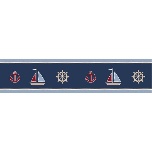 Sweet Jojo Designs Nautical Nights Wall Paper Border- Blue-Red-Camel-White - image 1 of 1