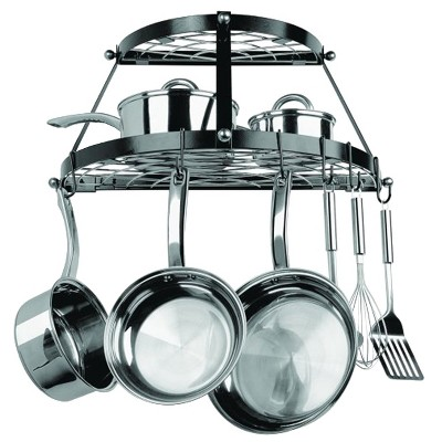 Range Kleen Double Shelf Wall Hanging Pot Rack - Black