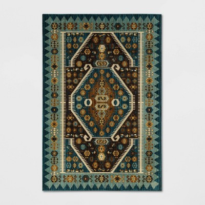 7'X10' Buttercup Diamond Vintage Persian Woven Rug Teal - Opalhouse™