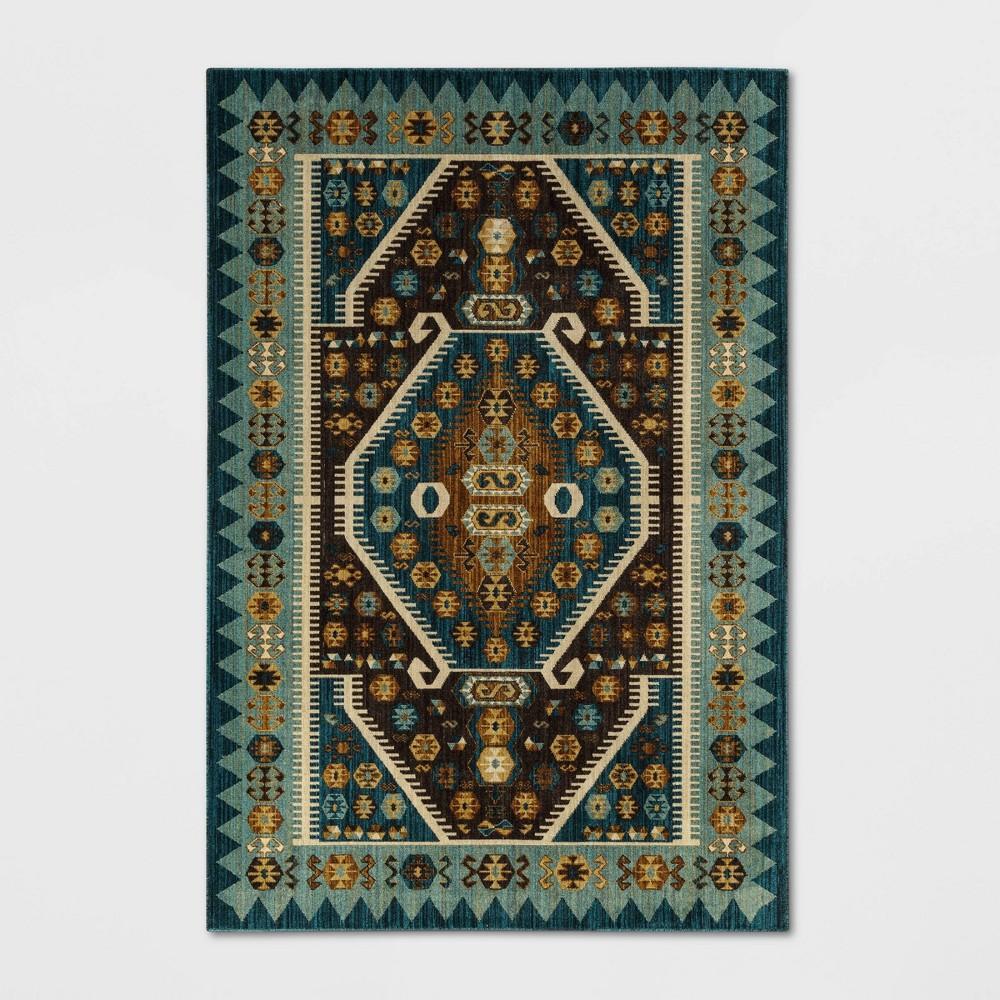 Buttercup Diamond Vintage Persian Woven Rug Teal