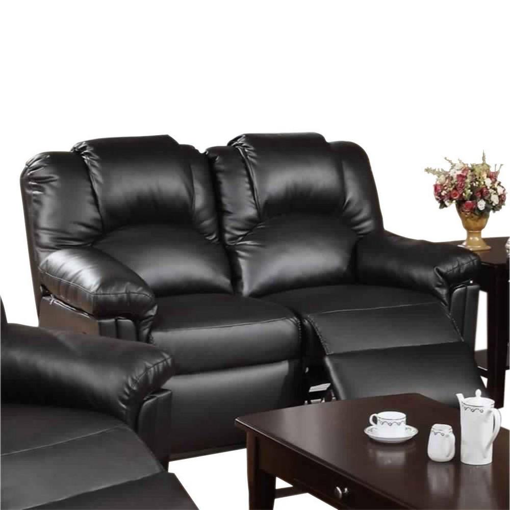 Image of Bonded Leather Recliner Loveseat Black - Benzara