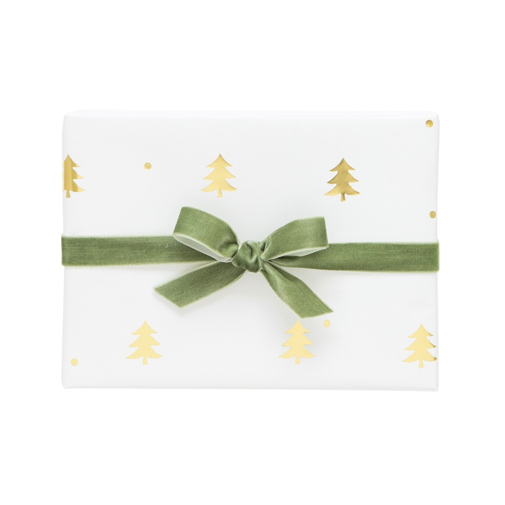 White with Gold Christmas Trees Gift Wrap, Single Roll - sugar paper