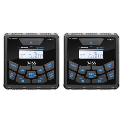 Boss Gauge Marine Bluetooth MP3 Radio Stereo Boat Audio Receiver Player (2 Pack)