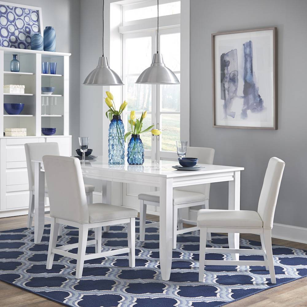 Image of 5pc Linear Rectangular Dining Set White - Home Styles